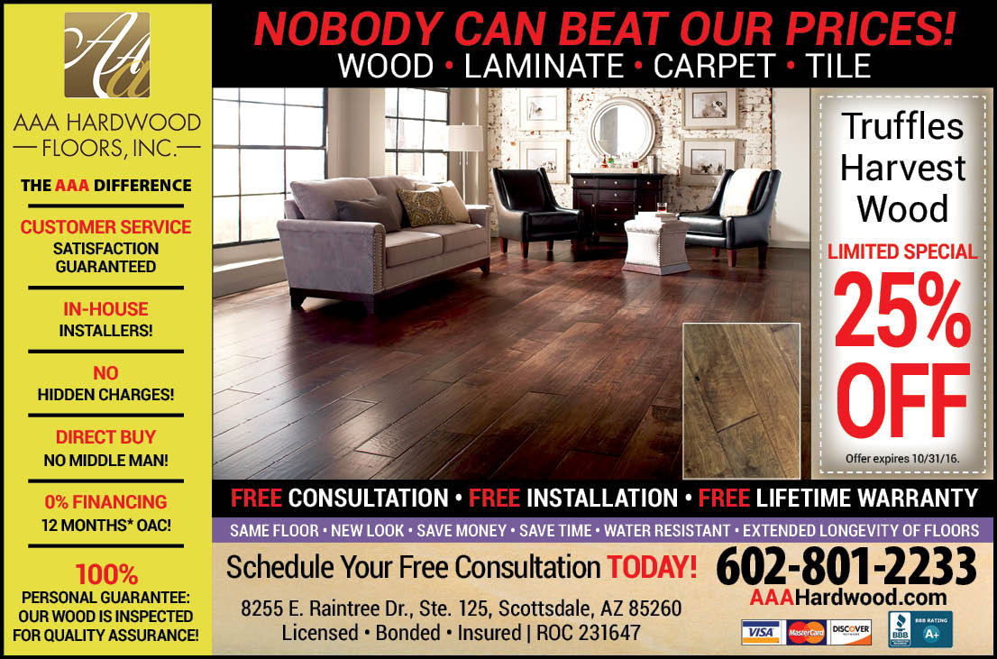 AAA Hardwood, half page magazine ad (courtesy Lion Tree Communications)