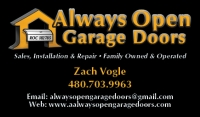 Always Open Garage Doors business card