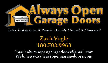 Always Open Garage Doors business card