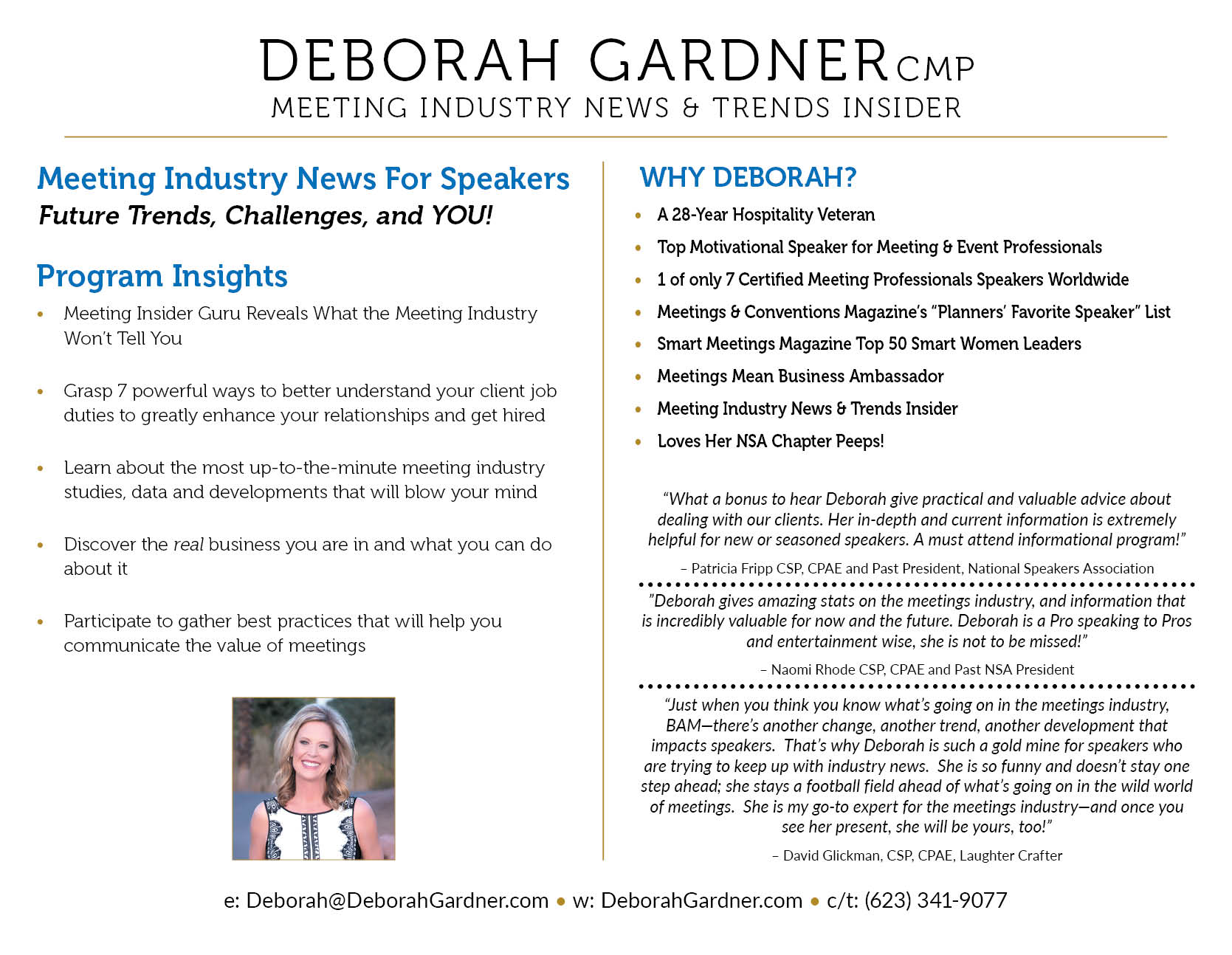 Deborah Gardner CMP new one sheet back side April 2019