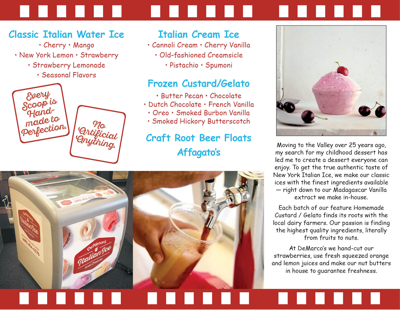 DeMarcos Italian Ice and Creams, trifold brochure, inside