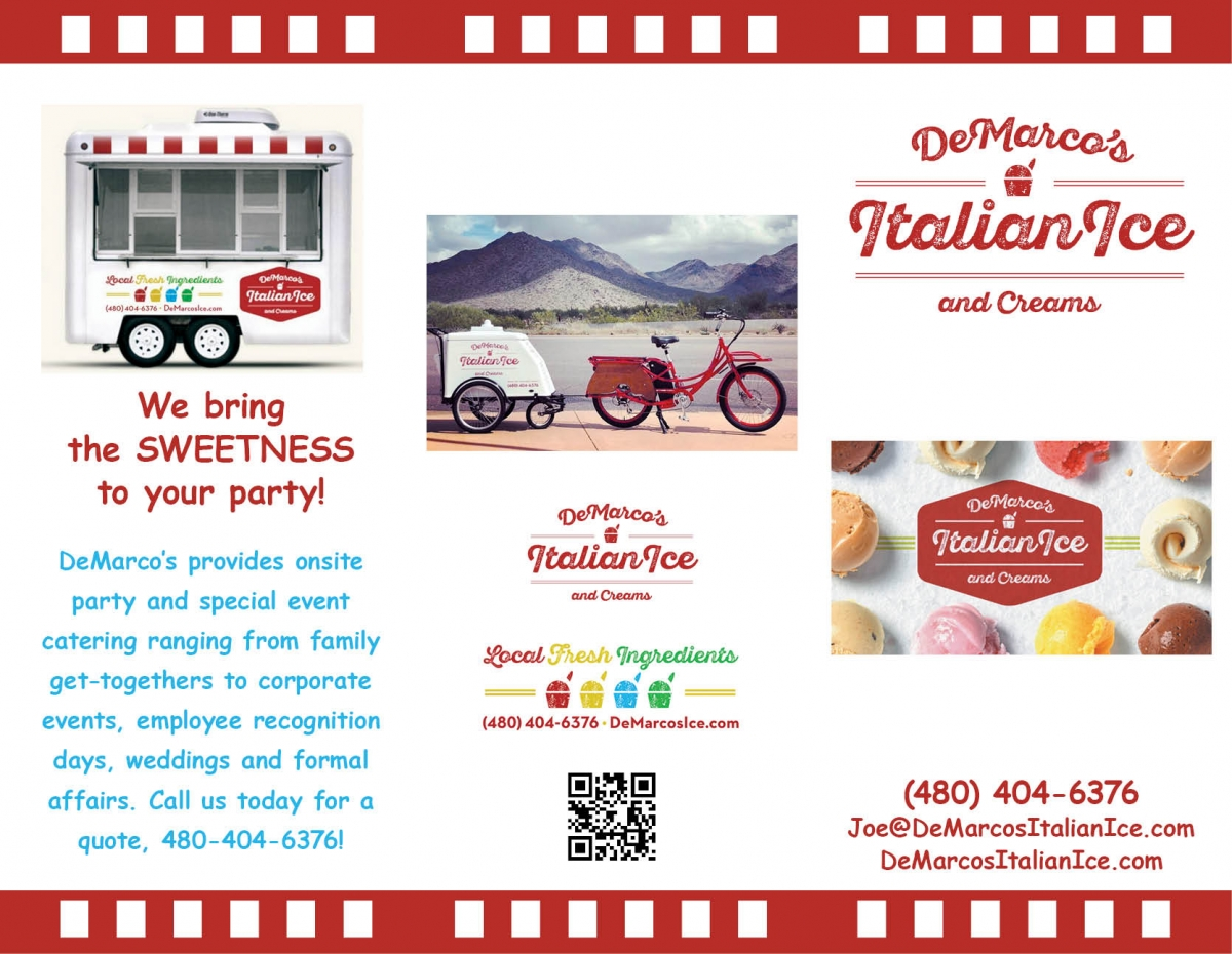 DeMarcos Italian Ice and Creams, trifold brochure, outside