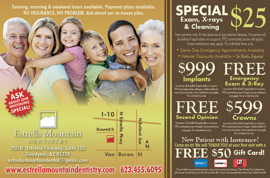 Estrella Mountain Dentistry half page ad for Life In Estrella magazine, courtesy of Lion Tree Communications