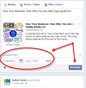 Facebook Fan Page: schedule status updates or posts, next steps