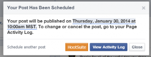 Facebook Fan Page: schedule confirmed dialog box