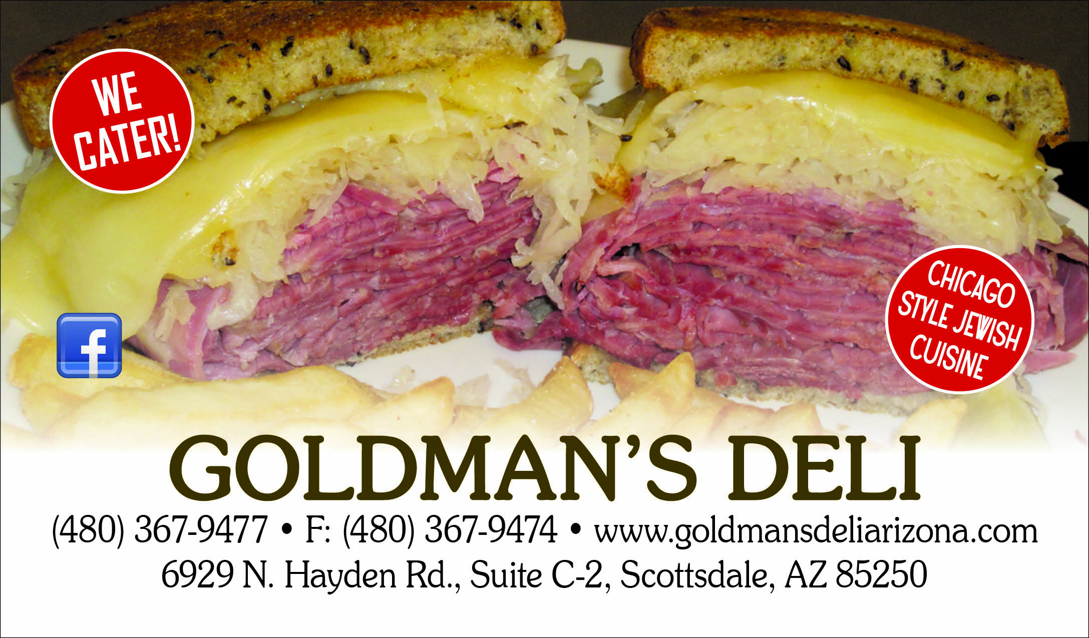 Goldmans Deli, business card redesign, front side