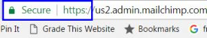 Example of Google Secure label of website with SSL certificate