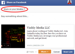LinkedIn Company Page: Sharing to Facebook as update