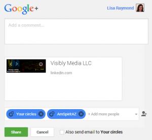 LinkedIn Company Page: Sharing to GooglePlus profile