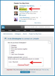 LinkedIn invitation screens