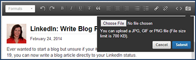 LinkedIn Invitation To Publish-Uploading Images