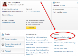 LinkedIn: Profile, Manage Your Twitter Settings