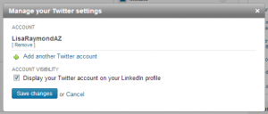 LinkedIn: Profile, Manage Twitter Settings