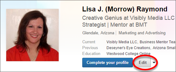 LinkedIn Profile, set to private Step 1