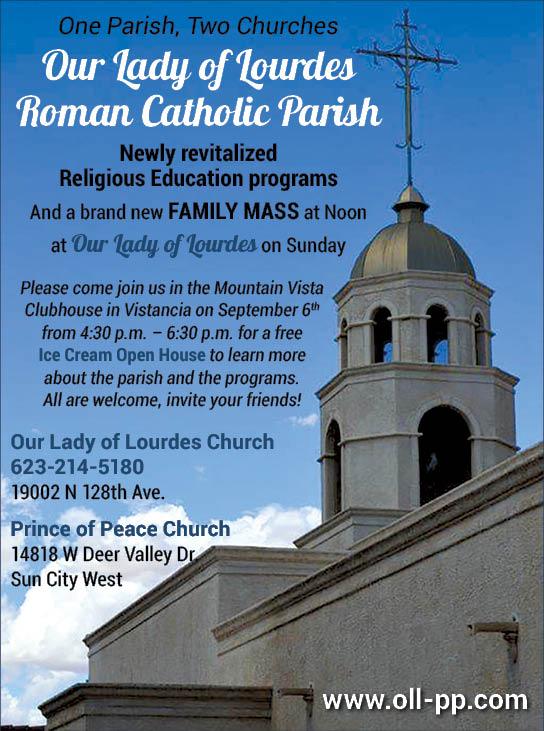 Our Lady Of Lourdes Roman Catholic Parish quarter page ad