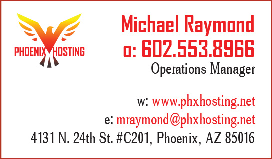Phoenix Hosting business card June 2018