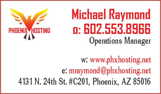 Phoenix Hosting business card June 2018
