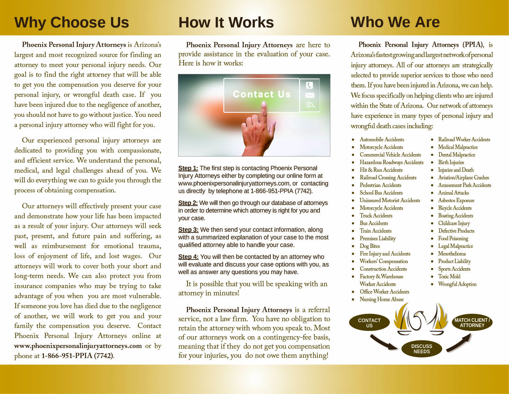 Phoenix Personal Injury Attorneys, trifold brochure, inside