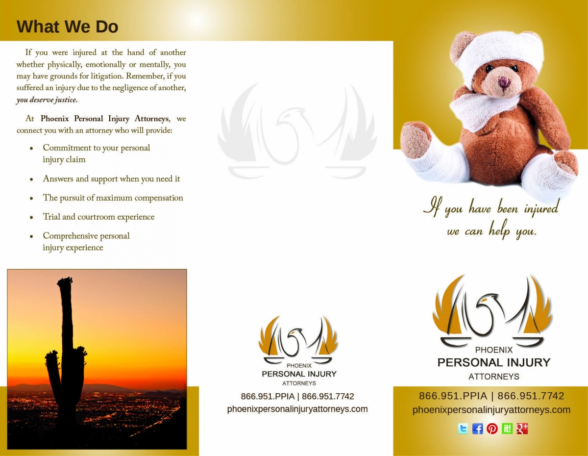 Phoenix Personal Injury Attorneys, trifold brochure, outside