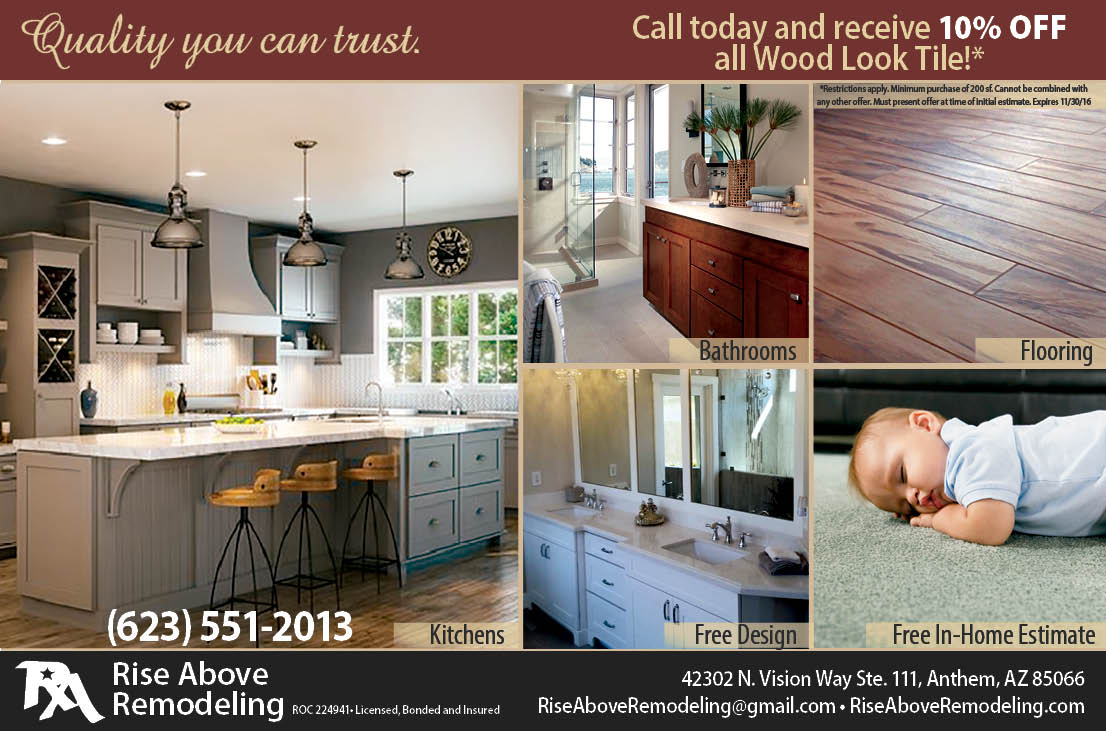 Rise Above Remodeling half page ad, Vistancia Village magazine, Lion Tree Communications