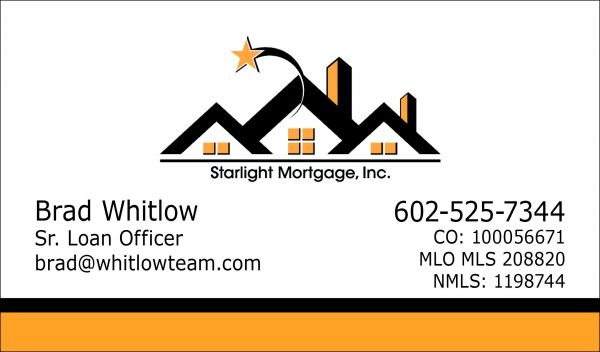 Starlight Mortgage, Inc. business card, one-sided, four-color