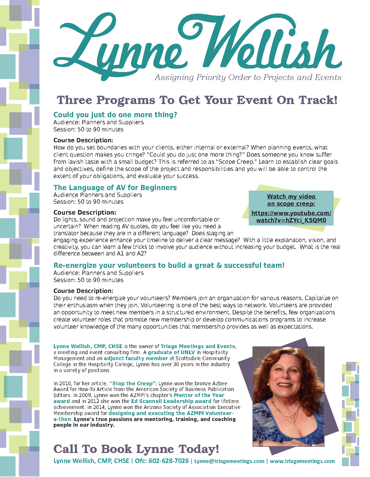 :ynne Wellish, Triage Meeting and Event Consulting | Speaker's One Sheet