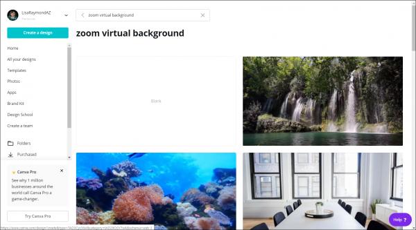 Visibly Media Marketing create virtual background using canva