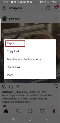 Visibly Media, reporting an Instagram post, step 2