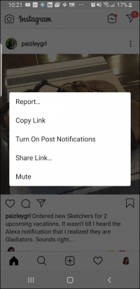 Visibly Media, reporting an Instagram post, step 1