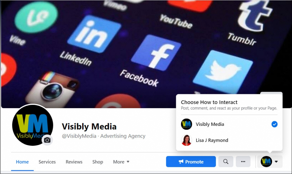 Visibly Media Marketing, Facebook, choose how to interact with your page