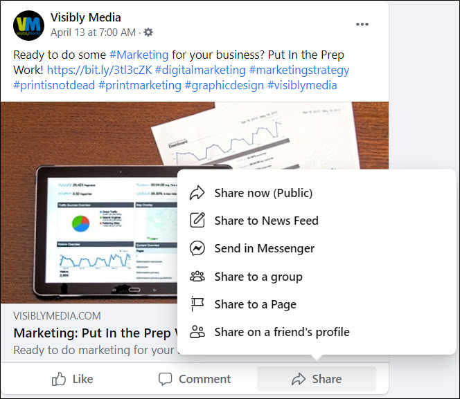 Visibly Media Marketing, Facebook, choose how to share the post to your personal profile