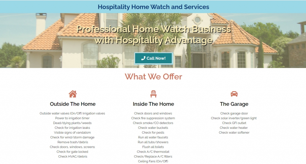 Visibly Media, Hospitality Home Watch and Services, home page