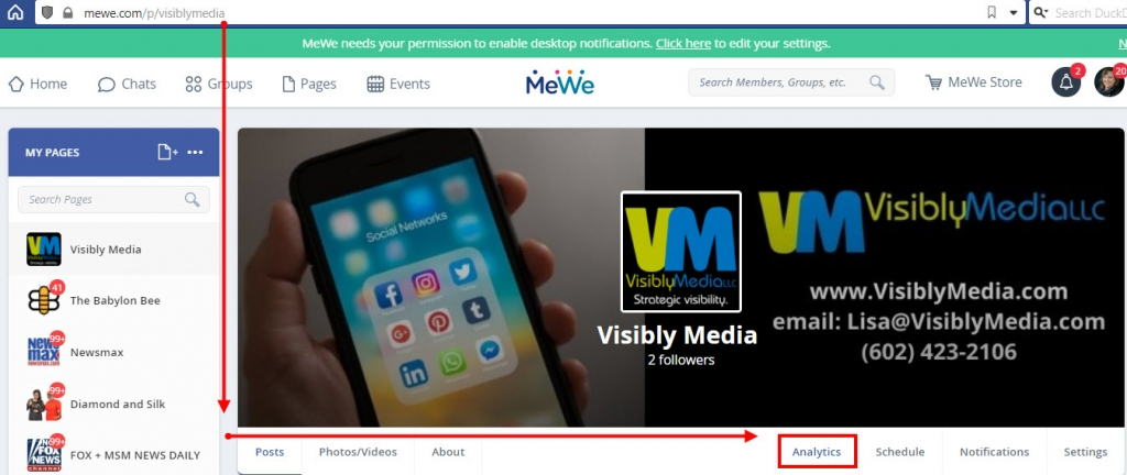 Visibly Media understanding mewe page analytics